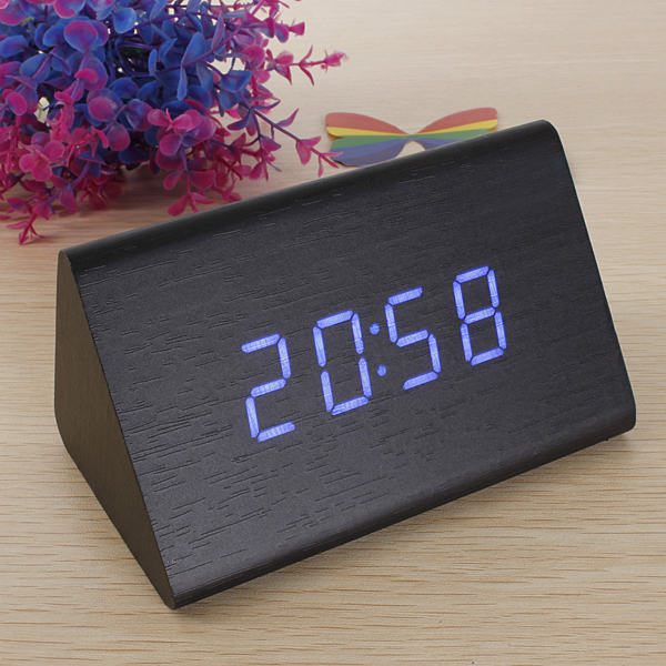 High Quality Black Wood Triangular 10 color LED Alarm Digital Desk Clock Wooden Thermometer(China (Mainland))