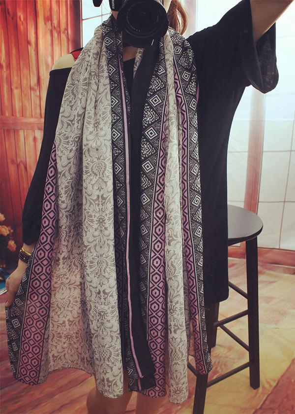 Autumn and winter Super Holiday Shawl Scarf Silk scarf Twill Real silk Shawl Female Sandy beach Sunscreen(China (Mainland))