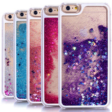 New Dynamic Liquid Glitter Sand Quicksand Star Cases For iphone 5 5s / 6 6s /6s plus Crystal Clear phone Back Cover phone case