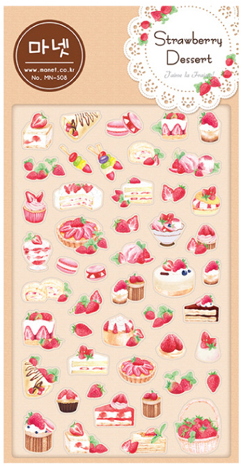Kawaii Stationery Stickers Strawberry Dessert translucent Diary Planner Note Diary Scrapbooking Albums PhotoTag Manet S07