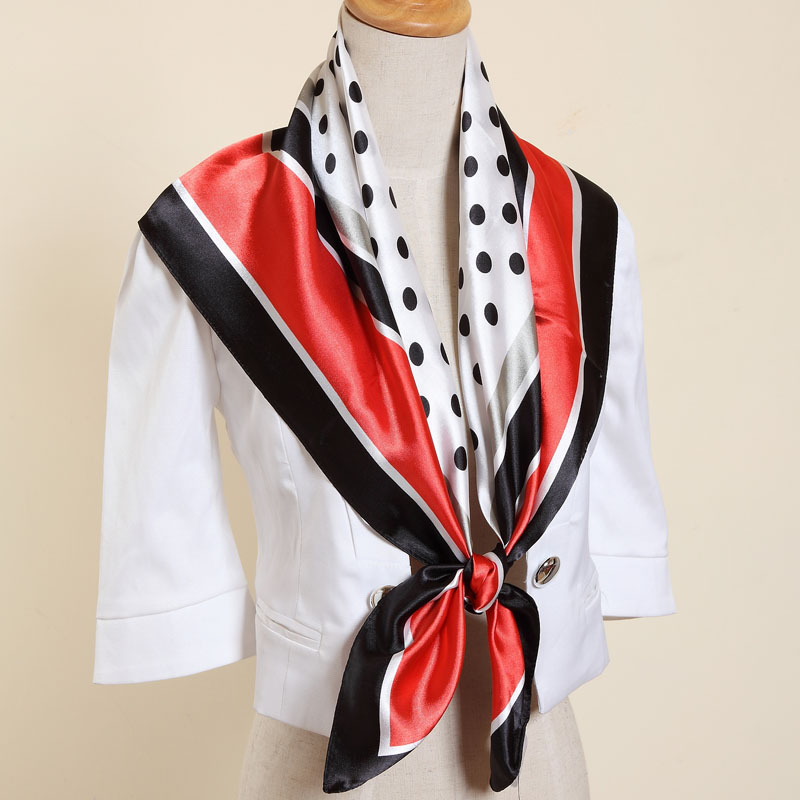 !2016 New Fashion Style Ladies' Lovely Polka Print Big Square Scarf Shawl Wrap (PS20121228) - JIAXING NATION SILK CO;LTD. store
