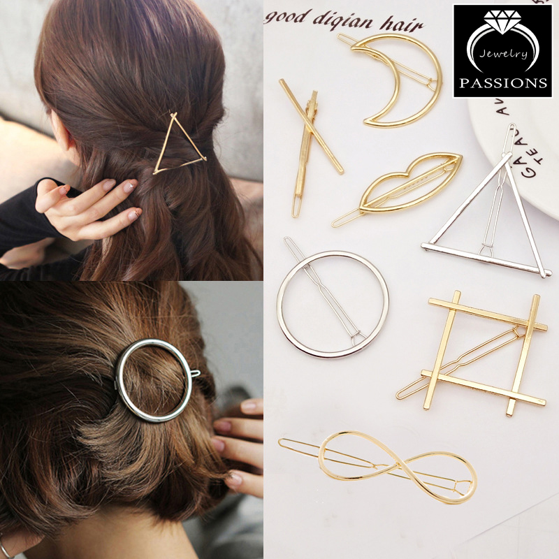 Fashion Pretty Gold Silver Metal Round Triangle Shape Hair Clips Barrettes Hairpin For Women Headwear Decorative Jewelry Women(China (Mainland))