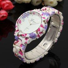 Hot Sport Casual Quartz Watch Women Dress Watches Female Flower Geneva Watch Plastic Clock Relogio Feminino Relojes Mujer(China (Mainland))