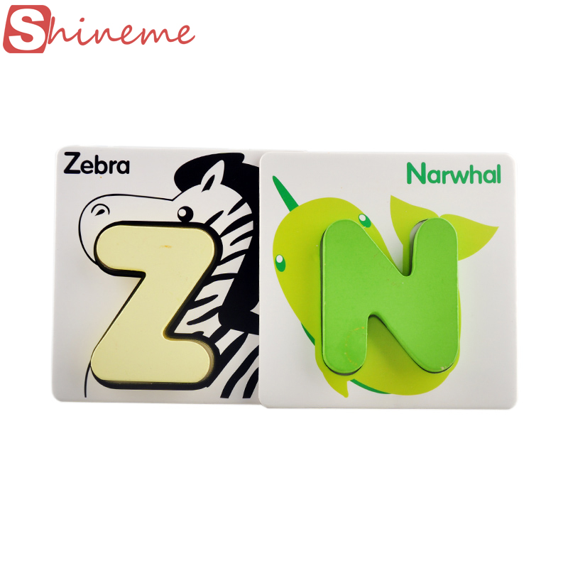 English alphabet letters number card baby boy girl learning puzzle toy animal wooden card children's educational toys for kids(China (Mainland))