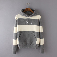 Autumn Winter 2015 Women's Wool Loose Hooded Pockets Striped Pullovers Casual Oversized Tops Sweaters(China (Mainland))