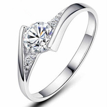2016 hot sell super shiny CZ diamond 30% percent silver plated ladies`finger wedding rings jewelry birthday gift(China (Mainland))