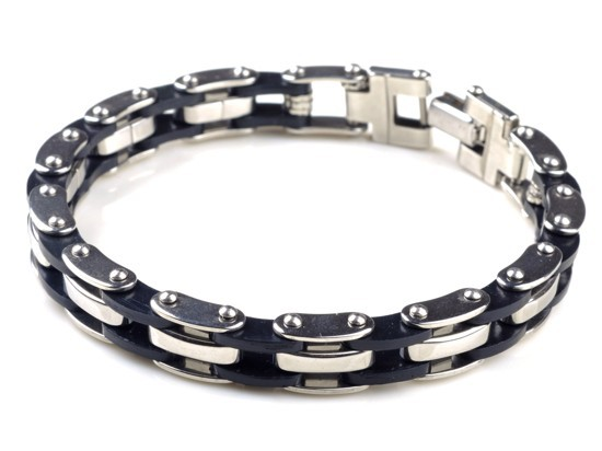 """HOT High Quality Mens Stainless Steel Bracelet Silver Chain Black Rubber 8.5""""(China (Mainland))"""