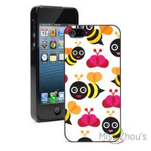 Happy Bumble Bees Protector back skins mobile cellphone cases for iphone 4/4s 5/5s 5c SE 6/6s plus ipod touch 4/5/6