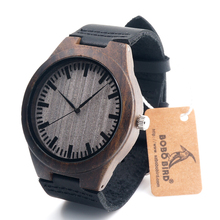 Black Mens Watches Leather Luxury men Watches 100% Natural Black Bamboo  Wood Wristwatch For Idea Gifts