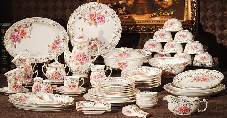 Luxurious Dinnerware Sets 72 pieces ceramic tableware set bone china dinner set House warming present(China (Mainland))
