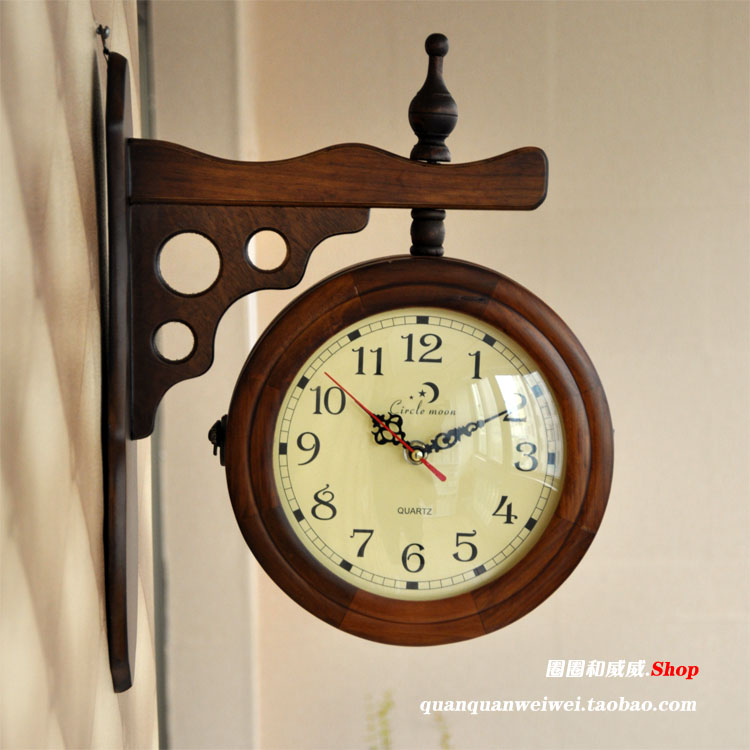 3 holes solid wood double faced clock rustic small fresh home decoration silent watch