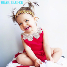 Bear Leader Baby Rompers 2016 New Summer Style Cotton Pearl Collar Red Baby Girls Clothing Set  60- 95cm Party Kids Jumpsuit(China (Mainland))