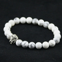 8mm Natural White Turquoise Stone Beads Bracelet for Women,Antique Silver and Gold Lion Head Bracelets, High Grade Mens Jewelry(China (Mainland))