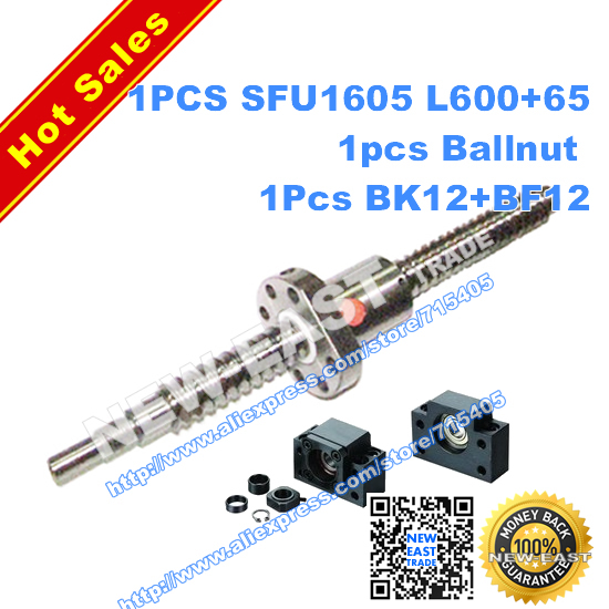dia16mm Rolled Ballscrew SFU1605 L665mm (L600mm+65mm machining parts) +ballnut + end 1set BK12BF12 Support - NEW-EAST TRADE store