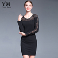 YuooMuoo 2016 New Autumn Dress Women Plus Size Lace Patchwork Black Dress Casual Long Sleeve Ladies
