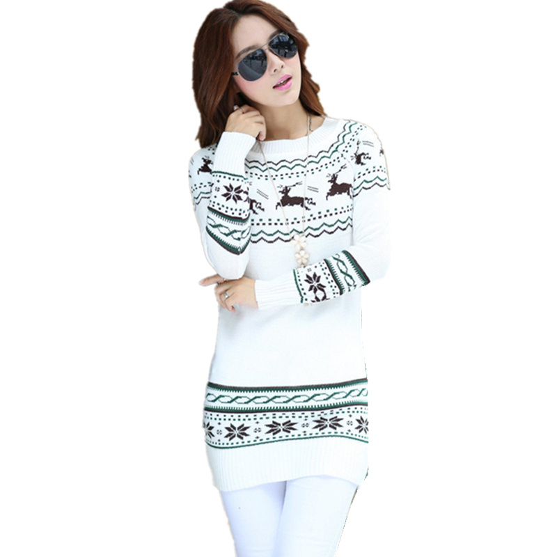 New Fashion2015 Woolen Round Collar Knitwear Christmas Gift Women Clothing Lovely Deer Long Pullover Sweater White Free shipping(China (Mainland))