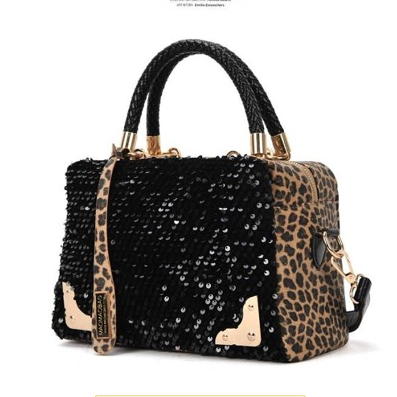 The new European and American fashion sequined leopard bag stitching retro portable shoulder bag diagonal package factory outlet(China (Mainland))