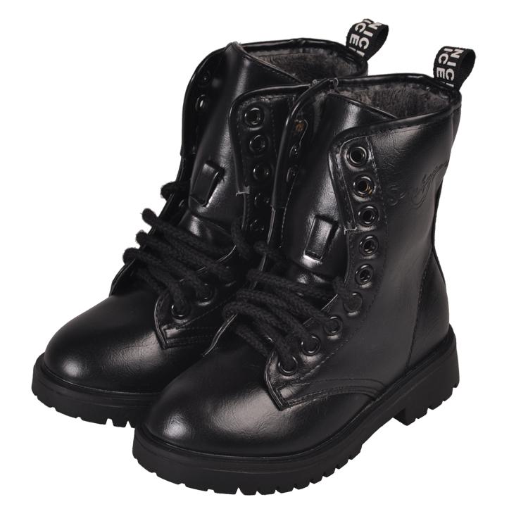 Kids Black Combat Boots - Yu Boots