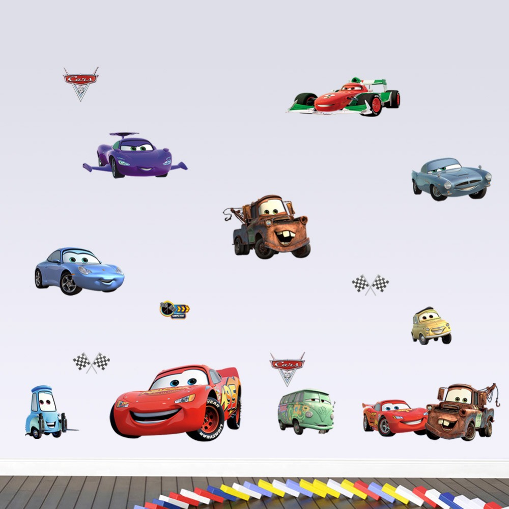 1446% Cartoon movie Pixar Cars waterproof removable 3D wall stickers children Kids room home decor bedroom wholesale art poster(China (Mainland))