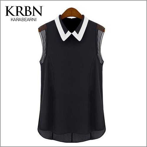 2015 summer women blouses Chiffon casual Shirts women Tops turn-down collar Sleeveless solid black blouse B1001(China (Mainland))