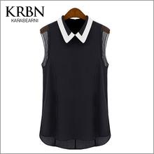 2015 summer women blouses Chiffon casual Shirts women Tops turn-down collar Sleeveless solid black blouse B1001(China (Mainland))
