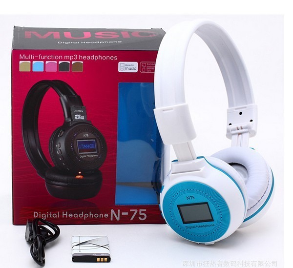 FREE SHIPPING Luminous headset wireless card headphones computer headphones headset wearing type MP3 headset with display screen