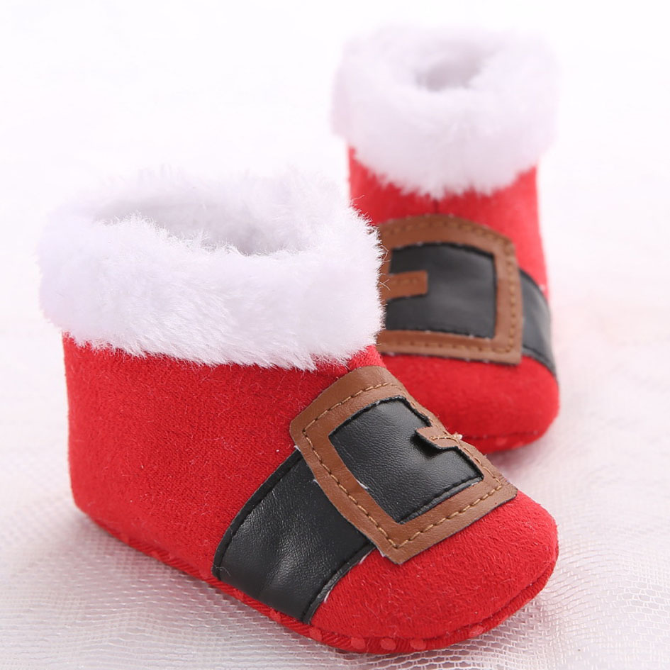 2017 Christmas Baby Shoes Winter Red Santa Claus Shoes X'mas Boots Boys First Walkers Soft Sole Crib Shoes Baby Boots(China (Mainland))