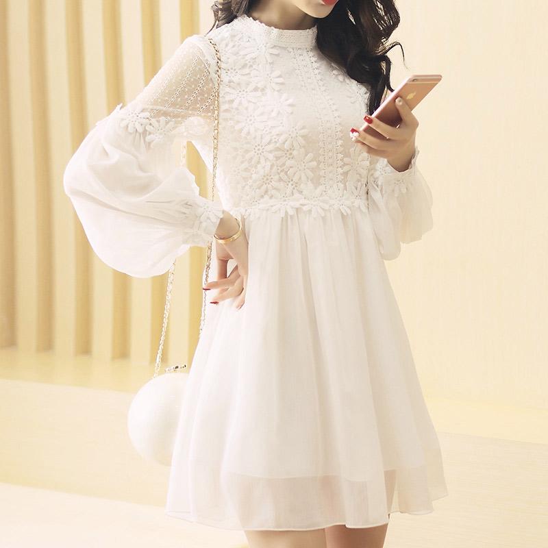 Spring Dress Women 2016 Korea Fashion Hollow Crochet Lace Long Sleeve Chiffon Dress Female Slim O-Neck White Women Dresses 7925(China (Mainland))