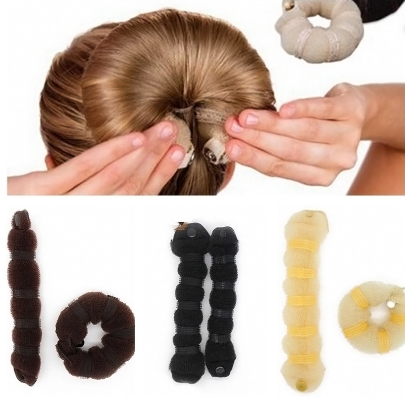 New Fashion 2pcs Sponge Hair Styling Donut Bun Maker Chrismas Magic easy using Former Ring Shaper Styler Tool 3 colors L04189(China (Mainland))