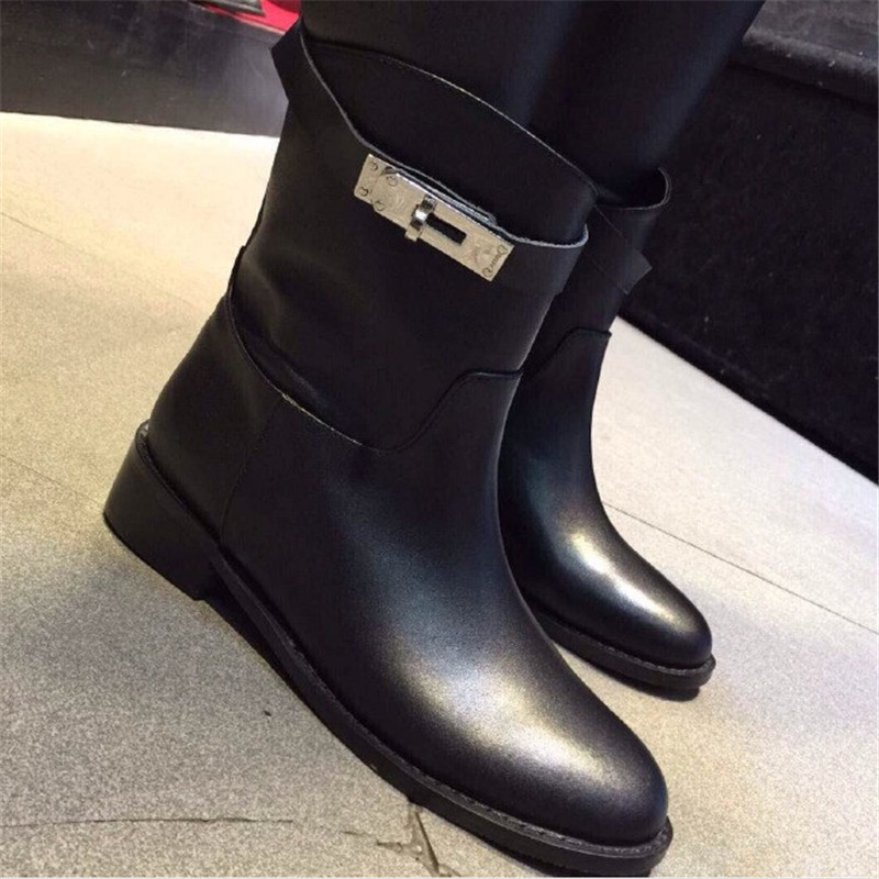 Гаджет  Brand H** MES  Genuine Leather Ankle women Boots buckle square heels flat round toe motorcycle boots winter women shoes None Обувь