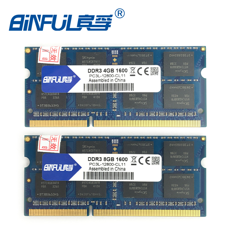 BINFUL new brand Original DDR3L 12800s 4GB 8GB 1600mhz memoria ram ddr3L low voltage 1.35v for laptop computer notebook sodimm(China (Mainland))