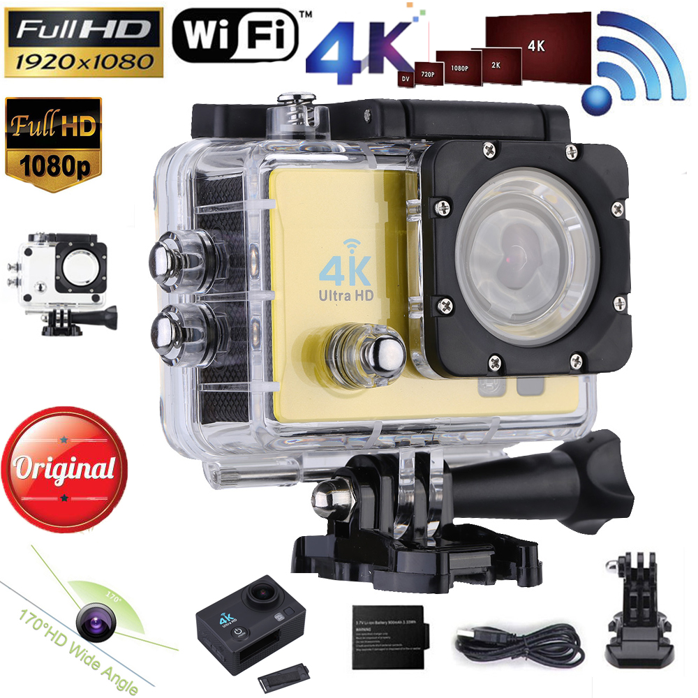 "2"" Ultra-HD LCD Action Camera Wifi 1080P 60FPS 4K 15FPS 16MP Mini Camcorder 170 degree Wide-Angle Lens with Waterproof Case(China (Mainland))"