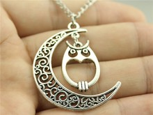 24pcs/lot Wholesale Fashion Moon owl charms, moon with owl necklace, bird moon necklace, 70cm chain(China (Mainland))
