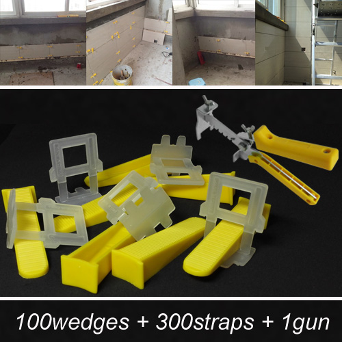 Tile leveling system for the flooring- make the floor and tile level and spacer tools-include 100wedges 300straps 1gun=ZF-W100(China (Mainland))