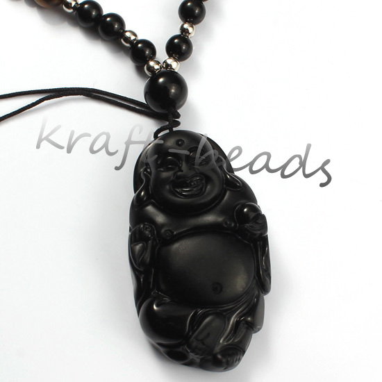 Fashion Lucky Carved Natural Black Laughing Buddha Maitreya tatu Pendant Necklace,Natural obsidian Necklace Jewelry<br><br>Aliexpress