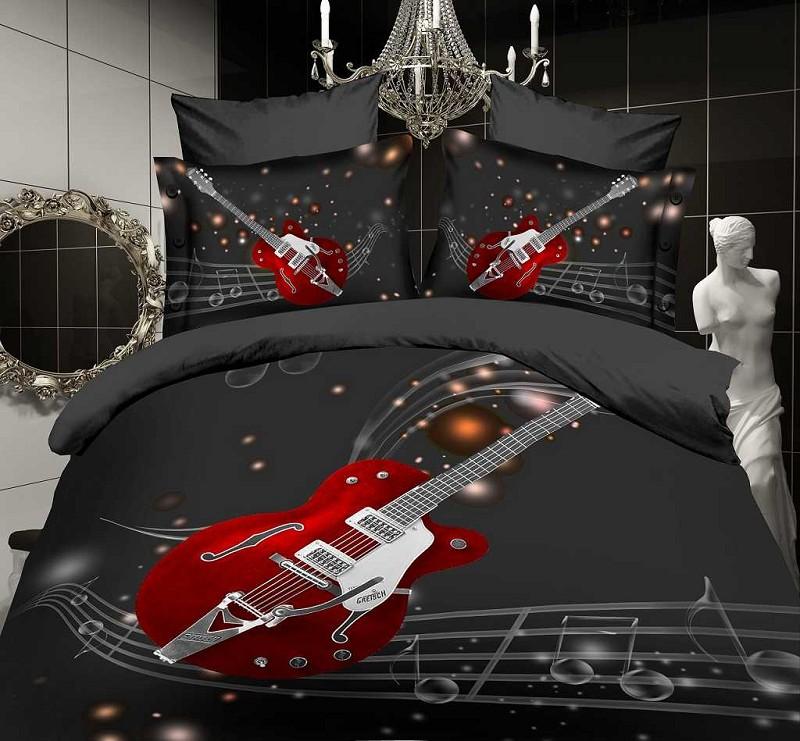 Red Guitar Black Music Note Comforter Bedding
