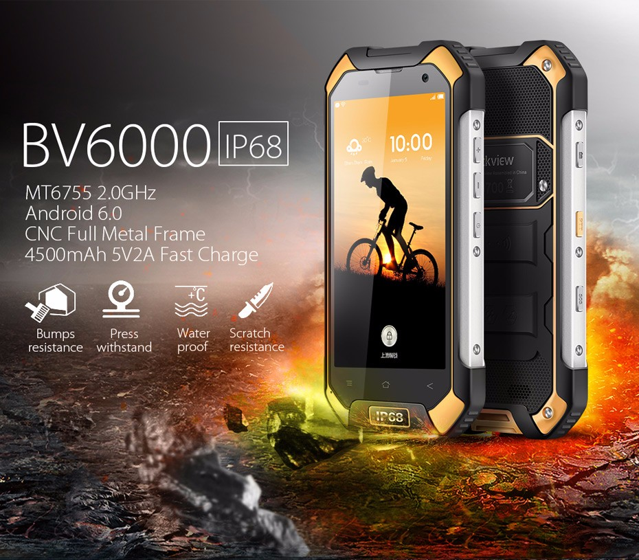 Blackview BV6000 Mobile Phones 4G LTE Smartphone 4.7′ Android 6.0 cell phones Octa Core 3G+32GB 13MP GPS Waterproof phone IP68