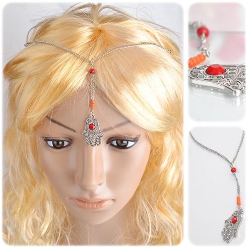 Hair Decoration Cute Palm Bead Metal Chain Hair Jewelry Bindi boho Silver Plated Hair Accesories Headband(China (Mainland))