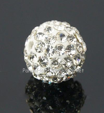 100pcs Pave Disco Ball Beads Polymer Clay Rhinestone Beads 8mm Grade A Round Crystal Hole: 1mm(China (Mainland))
