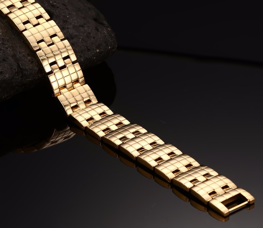 Mens Bracelets Stainless steel 2 row Magnetic Jewelry  Gold 18