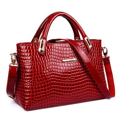 NEW patent leather Bag Fashion Women Handbag Single Shoulder Bag 2015 Western Style Tote Crocodile Texture Women Messenger Bags(China (Mainland))