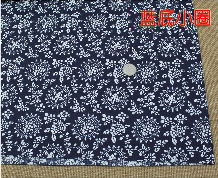 National trend 100% cotton blue printed thin fabric for table cloth, decoration background fabric,patchwork handmade fabric(China (Mainland))