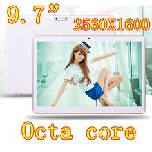 9.7 inch 8 core Octa Cores 2560X1600 IPS DDR 4GB ram 64GB 8.0MP 3G Dual sim card Wcdma+GSM Tablet PC Tablets PCS Android4.4 7 9