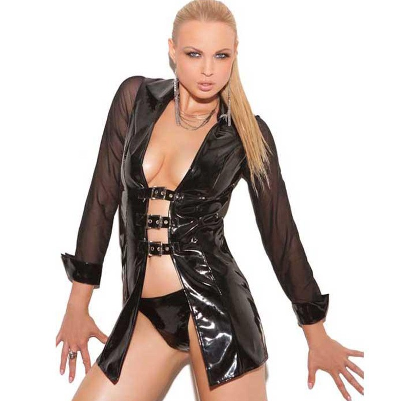 Vinyl Long Sleeve Jacket With Buckle Front And Mesh Sleeves Vinyl Leather Mesh & Vinyl Tops with Buckle Details W841023(China (Mainland))