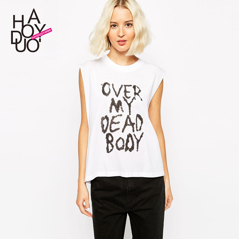 Over My Dead Body and interesting letter printing tank haoduoyi female short sleeved vest loose(China (Mainland))