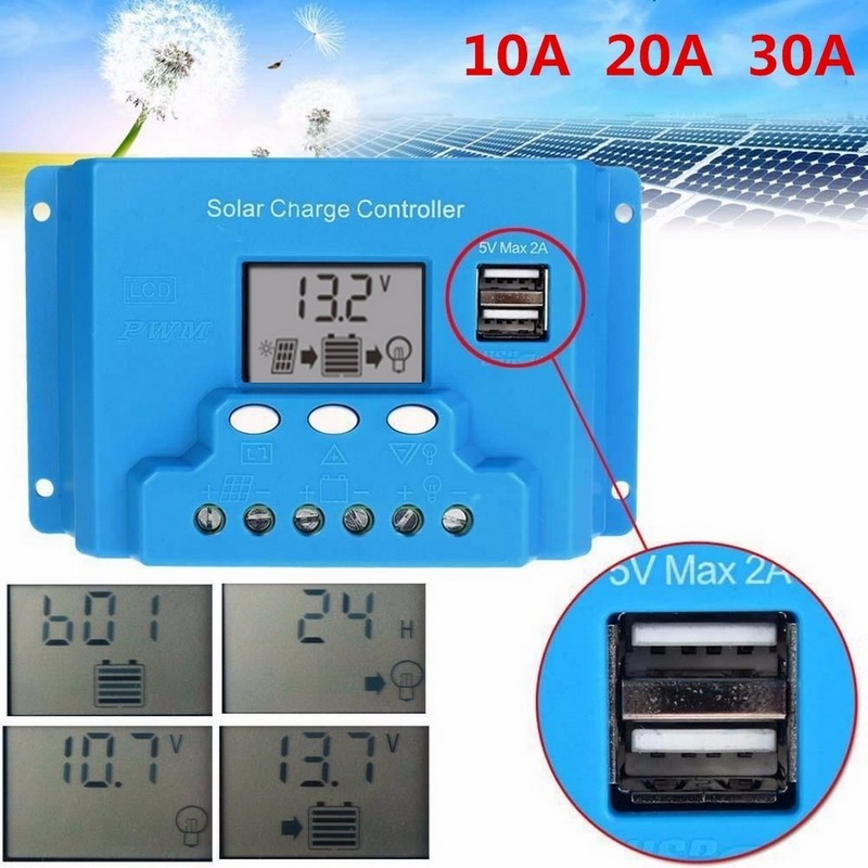 10A 20A Solar Panel Charge Controller LCD Dual USB Output for 12V 24V Solar Panels(China (Mainland))