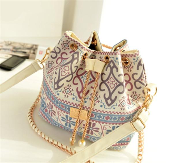 Bohemia Canvas Drawstring Bucket Bag Shoulder Handbags Messenger Women Bag Bolsa Feminina Bolsos(China (Mainland))