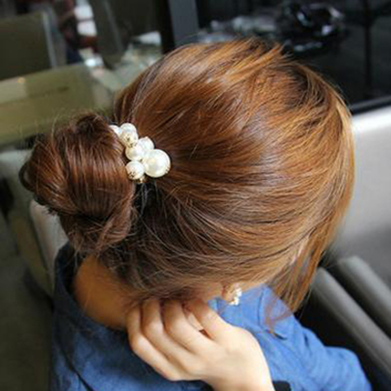 Delicate Fashion women's Bow Imitation Pearl Beads Hair bands Elastic Rope Accessories women girls Jewelry - Mina's store ( Min order is $10,mix store)