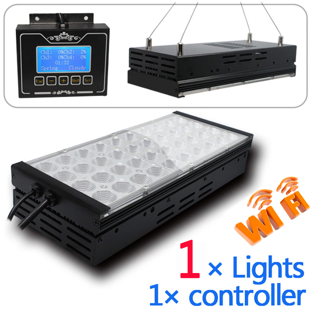 60W Smart Fan WIFI control Programmable 4 channels dimmable led aquarium lighting marine tank SPS LPS sunrise sunset lunar cycle(China (Mainland))