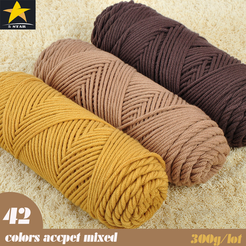 300g/lot Thick Yarn Cotton Skincare Velvet Silk Cotton Thick Hand Knitting Scarf/Coat Soft Yarn For Hand Knitting 6-7mm needle(China (Mainland))